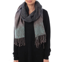 Floral Patterned Fringed Knitted Scarf