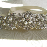 Bridal Hair, Wedding Headband, Ribbon Hair band, Ivory Pearl, Silver and Crystal, Vintage Style, Large Hair Piece, Hair Vine