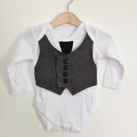 6-9mths baby waistcoat Onesuit/baby vest with tie, baby boy clothes, grey and black, formal baby, unique baby gift, wedding outfit