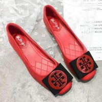 """""""Tory Burch"""" Trending Women Sexy Bowknot Metal Buckle High Heels Shoes Single Shoes Red I13721-1"""