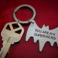 Batman Bat man Superhero You are my super hero Hand Stamped Gift for Dad Man Chain Key Fob Brother Grandpa Friend