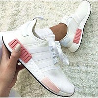 One-nice™ simpleclothesv : Adidas NMD Fashion Sneakers Trending Running Sports Shoes Whtie-pink