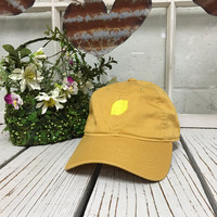 LEMON Baseball Hat Low Profile Embroidered BURNT YELLOW Baseball Caps Dad Hats