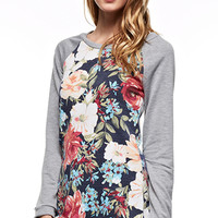 Smell The Roses Sweatshirt - Heather Grey/Blue (Ships 10/17)