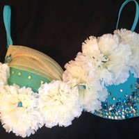 Mermaid Inspired EDC Bra, Rave Bra, EDC Wear, Rhinestones, Halloween Costume, Outfit for EDC, Dance Wear