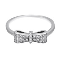 Elegant Bow Ring with Cubic Zirconia