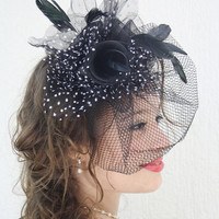 Wedding Fascinator Hair Clip Black and White Polka Dots Flowers Pearls Feathers Special Occasion Head Piece