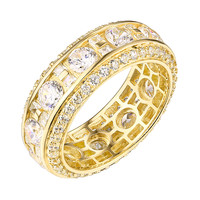 Round Cut Eternity Ring Wedding Bridal Sterling Silver Gold Finish Cubic Zirconia