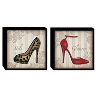 Glamour Shoes in Color Wood Wall Art (Set of 2) (2061) - Illuminada