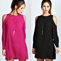 Fashion Lady's Casual Long Sleeve Open Shoulder Loose Solid Shift Short Mini Dress = 1902452292