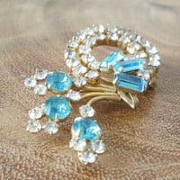 Rhinestone Brooch Aqua and Clear Pin Vintage Signed Antoinette
