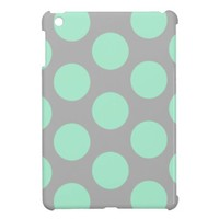 Polka Dots Mint and Gray iPad Mini Case from Zazzle.com