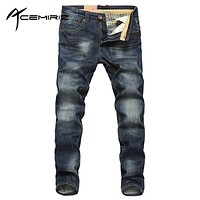 2017 Spring Summer Mens Fashion Denim Pants Thin Blue Pockets Trousers Man's Jeans Male Wear XZZ-522