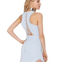 Laced Cutout Halter Mini Dovetail Dress