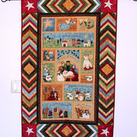 Christmas Quilted Wall Hanging, Benartex Fabrics, Hostess Gift, Christmas Decor, Country Decor, Religious Theme, Quiltsy Handmade