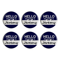 Jeremy Hello My Name Is Plastic Resin Button Set of 6