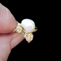 Gold Anthurium and Pearl Ring