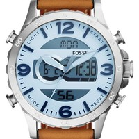 Men's Fossil 'Nate' Ana-Digi Watch, 50mm - Brown/ Silver
