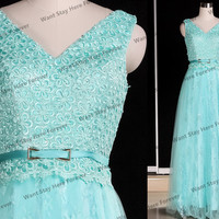 Sweetheart Floral Lace Sheer Mint Straps A-line Bow Belt Tulle Floor Length Long Evening Gown,Gown Ball,Evening Dress,Prom dress for Girl