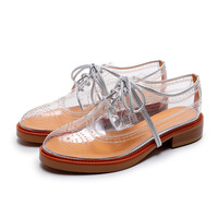 Fashion Round Toe Lace Up Transparent Shoes
