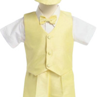 Yellow Poly Silk Vest & Shorts Outfit 5 Pc Suit with Matching Cap (Baby or Toddler Boys)