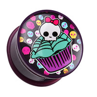Skullicious Cupcake Single Flared Ear Gauge Plug