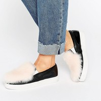 Lost | Lost Ink Erika Black Fluffy Panel Slip On Sneakers at ASOS