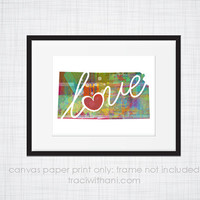 Kansas Love - KA Canvas Paper Print:  Grunge, Watercolor, Rustic, Whimsical, Colorful, Digital, Silhouette, Heart, State, United States