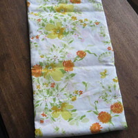 """Mod Yellow/Green/Orange Flower Print Flat Sheet; '70s Vintage 68x94"""" Cotton Blend Garden Floral Print Twin Bed Sheet; U.S. Shipping Included"""