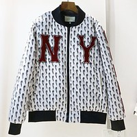NY New fashion embroidery letter more chili print long sleeve coat jacket White