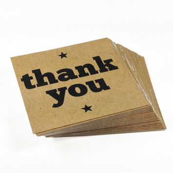 30 Kraft Paper Thank You Star Stickers, 2 x 2 Inches