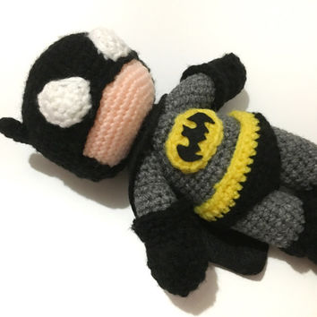 Amigurumi Inspired Batman Doll Crochet Batman Toy Super Hero Plush Boys Toy Photo Prop Birthday Baby Shower Gift Ideas