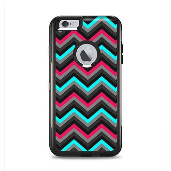The Sharp Pink & Teal Chevron Pattern Apple iPhone 6 Plus Otterbox Commuter Case Skin Set