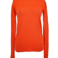 A.L.C. Exclusive Twisted Back Orange Long Sleeve Sweater - SinnStyle.com