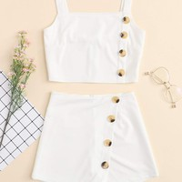 Button Detail Solid Cami Top With Shorts