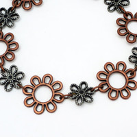 Copper and Silver Daisy Bracelet Free Shipping Metal Flower Bracelet Unique Bohemian Country Bracelet Bold Stylish Spring Summer Arm Candy