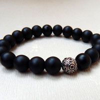 Men's matte black onyx bead bracelet with sterling silver bead Men's beaded bracelet Women's black gemstones bracelet stretch
