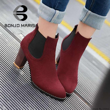 Brand Women Ankle Boots Gladiator Chunky High Heels Winter Spring Autumn Shoes Less Platform Pointed Toe Motorcycle Boots