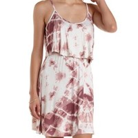 Taupe Combo Tie-Dye Flounce Tank Dress by Charlotte Russe