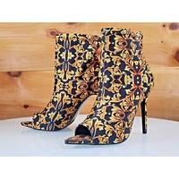 """CR Dara Gold Orange Black Print Fitted Open Pointy Toe Ankle Boot 4"""" High Heels"""