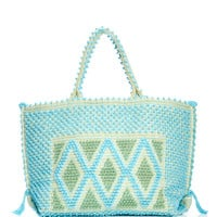 M'O Exclusive Large Capriccioli Diamond Tote In Turquoise & Green