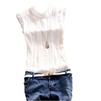 Summer Women Lace Sleeveless Chiffon Blouse Lady Casual High Collar Folds Reffle Blouse