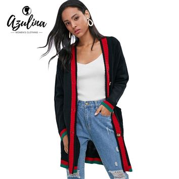 AZULINA Pockets Button Up Cable Knit Cardigan Women Sweater Autumn Casual V Neck Long Sleeve Long Coat Ladies Cardigans Clothing