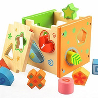 Vidatoy 10 Hole Cube for Shape Sorter and Maths Learning Wooden Toys