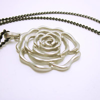 JEWELRY Large Silver Rose On Black Chain Beautifully Sculpted Rose Jewelry Piece Gift Ideas For Her Statement Rose
