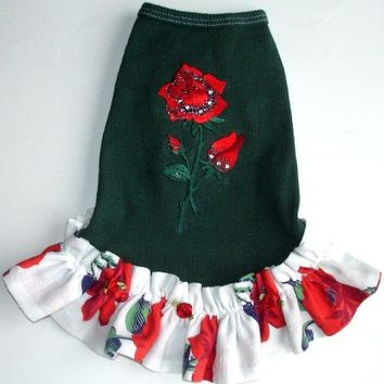 Dog Tank Dress: Green with Red Roses