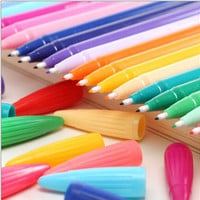 New Korean kawaii cute stationery Set of 24 color DIY painting drawing watercolor marker pen brush for  text liner, scrapbook