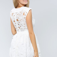 Shoulder Puff Swan Mini Dress