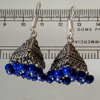 """1.5"""" Indian Traditional Jhumka Earring, Blue Beaded Jhumka Earring, Blue Dangling Jhumka Earring, Fashion Jewelry"""
