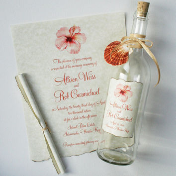 Message in a Bottle Invitations - Bottle Wedding Invitations - Unique Beach Wedding Invitations with Watercolor Hibiscus
